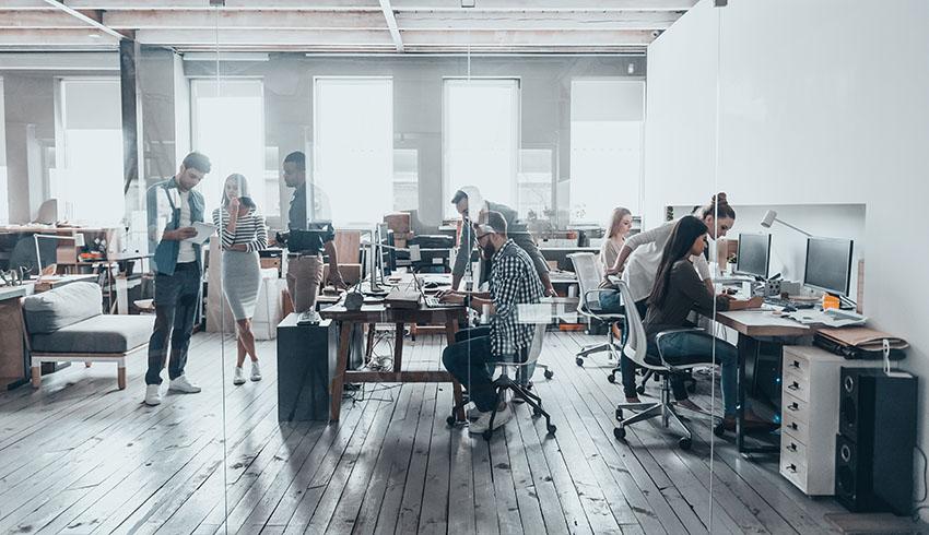 People in Office Workspace